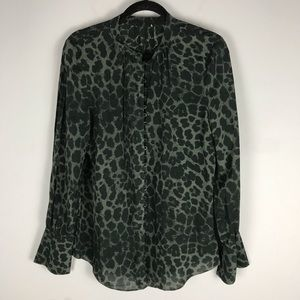 Joie tariana leopard print blouse green button